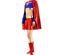 rot und blau metallisch glänzenden Frauen Spandex Zentai von Superman inspiriert