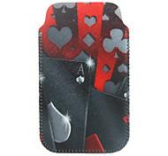 protección patrón de jugar a las cartas de poliuretano flexible de piel bolso para iphone