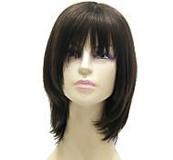 парик женский, средней длины, черный, 100% натуральные волосы