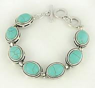ovalada de color turquesa y pulsera de plata de aleación de palanca