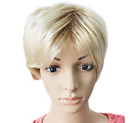 sin tapa corto peluca sintética pelo liso