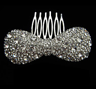 Alloy With Rhinestone And Pearl Shining Bow Bridal Comb