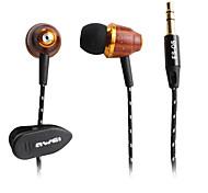 awei estilo de madeira in-ear fones de ouvido (marrom)