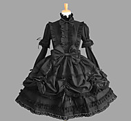 Long Sleeve Knee-length Black Cotton Gothic Lolita Dress with Lace