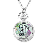 Women's Alloy Analog Quartz Necklace Watches with Bird (Silver)