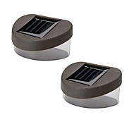 Set of 2 White Deck And Fence Wall Mount Solar Lights