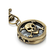 Unisex Hollow Skull Heads Alloy Analog Quartz Keychain Watch (Bronze) Cool Watches Unique Watches