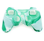 estilo camuflaje protector de silicona caso para PS3 controlador (verde y blanco)