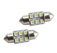 31mm 6*1210 SMD White LED Car Signal Lights (2-Pack, DC 12V)