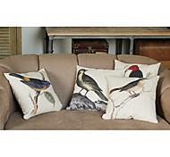 lino y algodón funda de almohada con las aves decoración (juego de 4)