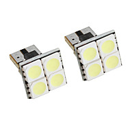T10 4*5050 SMD White LED Car Signal Lights (2-Pack, DC 12V)