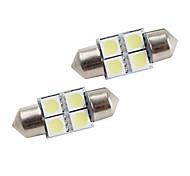 31mm 4*5050 SMD White LED Car Signal Lights (2-Pack, DC 12V)