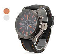 Men's Casual Style Black Silicone Band Quartz Wrist Watch (Assorted Colors)