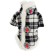 Dog Coat Black Dog Clothes Winter / Spring/Fall Plaid/Check Classic / Keep Warm