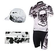 bicicleta trajes babero con calentadores de cabeza y el brazo (blanco y negro)
