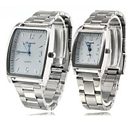 Pair of Alloy Analog Quartz Wrist Watch (Silver)