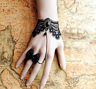 Handmade Black Lace Retro Style Classic Lolita Bracelet with Bow Ring Set