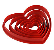Fondant Cake DIY Decorating Red Heart Shaped Cookie Biscuit Cutter Mold (6-Pack)