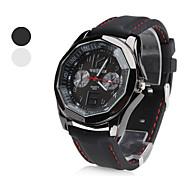 Frauen Silikon Analog Quarz-Armbanduhr (schwarz)