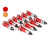 XD7-1 10mm Flat Head Signal Light Lamp-Red (AC 220V 10-Piece Pack)