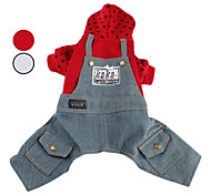 spotted Hoodie mit Jeans-Overall für Hunde (XS-XL, farbig sortiert)