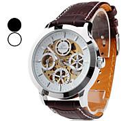 Relógio de Pulso Masculino com Engrenagens Aparentes e Pulseira PU