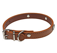 Dog Collar Adjustable/Retractable / Cute and Cuddly Red / Brown PU Leather