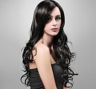 capless extra haute qualité à long look naturel synthétique perruque noire cheveux bouclés (9052 1b)