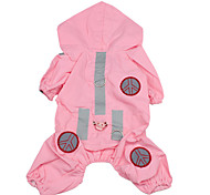 Cute Rain Coat with Pant for Dogs (XS-XL, Pink)