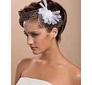 15cm x 8 centimetri splendido tulle da sposa fiore bianco / corsage / copricapo