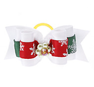 Double Color Snowflake Pattern Tiny Rubber Band Hair Bow for Dogs Cats