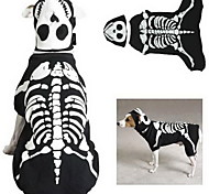 PethingTM [XmasSale]Noctilucent Dogs Bone Style Jumpsuit with Eyepatch for Dogs(Black,XS-XL)