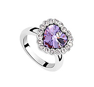 Big Heart Shaped Crystal Fashion Ring