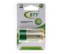 Bty AA 3000mAh Batería recargable Ni-MH (1,2 V, 2-Pack)