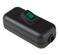 Water Resistant In-Line On/Off Rocker Switch with Green Light for Electric DIY (Black & Green)