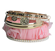 lureme®fabric bracelet multicouche couleur rose plaqué bracelet en alliage d'or