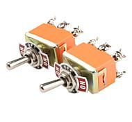 Plastic & Copper On-Off-On Toggle Switches (Orange, 2 PCS)