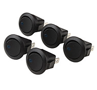 Car OFF/ON Rocker Switches with Blue Light Indicator (5-Piece Pack, 12V)
