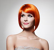 Capless Chin Length Synthetic Orange Bob Style Hair Wig