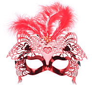 Venetian Feather Top Half Mask with Love LED Flashing Light for Masquerade Party (Random Color)