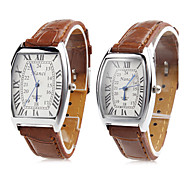 Pair of Unisex PU Analog Quartz Wrist Watch (Brown) Cool Watches Unique Watches Fashion Watch Strap Watch
