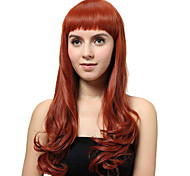 Sin tapa larga Auburn rizado pelucas sintéticas