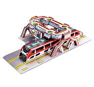 63 Pièces DIY architecture 3D Puzzle chinois chevauchants Bus (difficulté 4 sur 5)