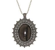 Exquisite Texture Edge Oval Diamond Necklace