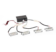 1W 3-LED de luz blanca LED Lámparas de destello para coches (4-Pack)