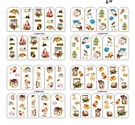4 Sets of Christmas 2D Plastic Twinkle Nail Art Decorative Nail Tips