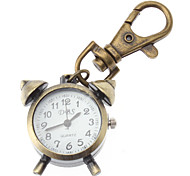 Unisex Alarm Clock Design Alloy Analog Quartz Keychain Watch (Bronze)