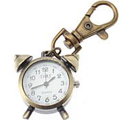 Unisex Alarm Clock Design Alloy Analog Quartz Keychain Watch (Bronze)