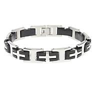 Cross Stainless Steel Black Gum Bracelet