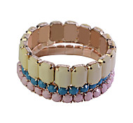 Fashion Sweet Acrylic Square Gem Gold Plating Bracelet